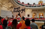 "On the last day of the 85th legislative session, protesters opposed to Senate Bill 4 — the ""sanctuary cities"" law, fill up the rotunda of the state Capitol in Austin on May 29, 2017.  Julian Aguilar/The Texas Tribune"