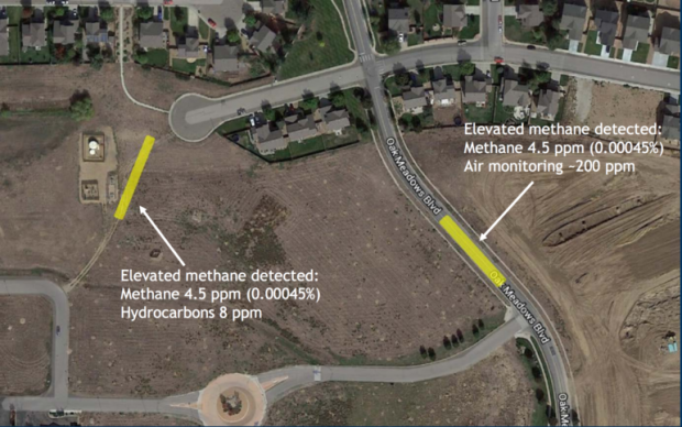 Colorado Oil & Gas Conservation Commission State officials reported elevated methane levels at two locations in Oak Meadows.