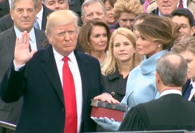 President Donald Trump being sworn in on Jan. 20, 2017. (Screen shot from Whitehouse.gov
