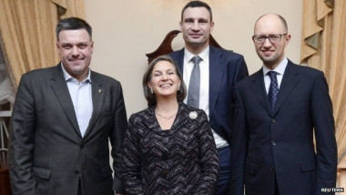 Assistant Secretary of State for European Affairs Victoria Nuland, who pushed for the Ukraine coup and helped pick the post-coup leaders. US Nuland with Neo Nazi Svoboda leader Oleh Tyahnybok (left) Source Reuters