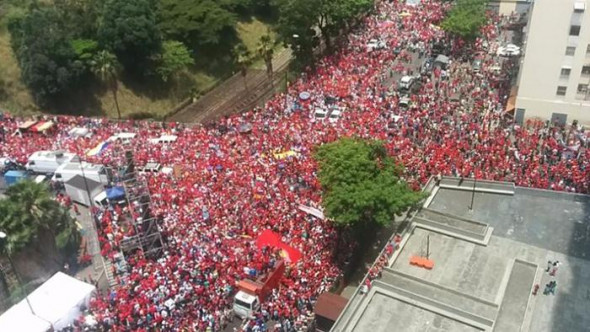 The same day that three million people marched in Caracas to show support for Nicolás Maduro, much less attended opposition protests dominated headlines. Photo: teleSUR Photo: TELESUR