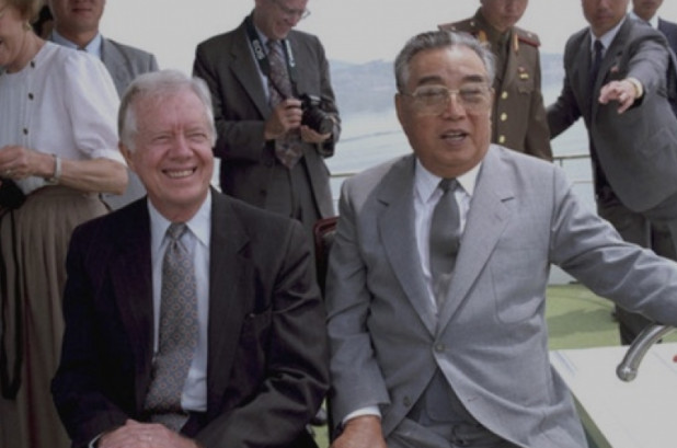 "Above Photo: Jimmy Carter and Kim Il Sung, 1994. Former President Jimmy Carter visited North Korea in June 1994 to successfully negotiate a ""freeze"" on the North's nuclear program. Kim Il Sung died a month later but, following bilateral negotiations, the two countries signed the Agreed Framework putting in place the process for dismantling North Korea's nuclear program."