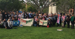 Students gather on campus at California State University, Long Beach in support of a divestment resolution. (Facebook)