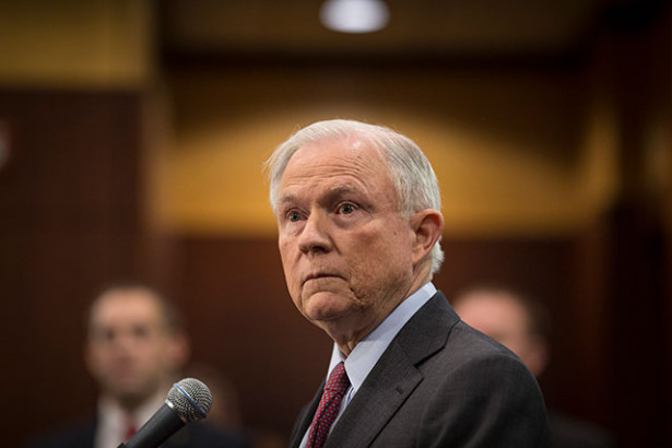 Attorney General Jeff Sessions speaks to reporters in Richmond, Virginia, March 15, 2017. (Photo: Chet Strange / The New York Times)