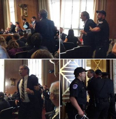 BXE Protest at Senate hearing Ted Glick speaks out against FERC and is arrested. June 6, 2017 by BXE.