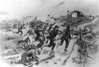 Cuba Spanish-American War Capture of the hills around Santiago de Cuba after the landing of US troops at Daiquiri: Colonel Chaffee's brigade attacking El Caney. Painting by F.C. Yohn