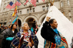 Indigenous leaders participate in a protest march and rally in opposition to the Dakota Access and Keystone XL pipelines, in front of the Trump International Hotel in Washington, DC in March.KEVIN LAMARQUE/REUTERS
