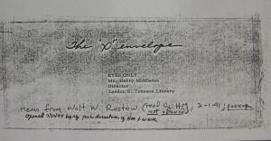 """Walt Rostow's """"'X' Envelope"""""""