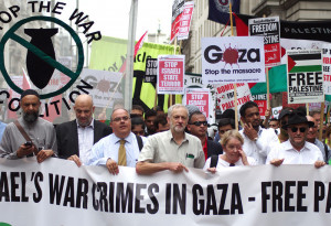 Jeremy Corbyn protesting Israel bombing of Gaza