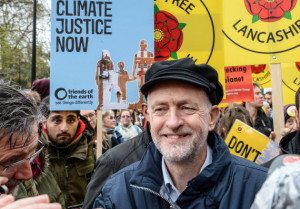 Jeremy Corbyn protesting for climate justice