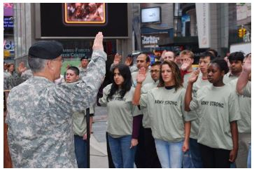 Military youth swearing in