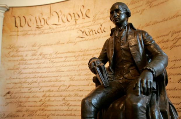 A statue of President James Madison at Montpelier, Madison's home in Orange, Va. (Steve Helber / AP)