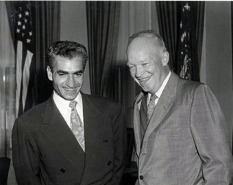 Shah Mohammad Reza Pahlavi and President Dwight D. Eisenhower, (undated photo).