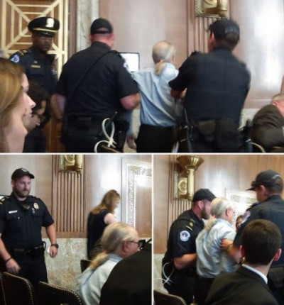 Sid Madison protests FERC commissioner appointees in Senate hearing. June 6, 2017