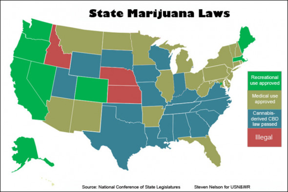Eight states have laws authorizing regulated recreational marijuana sales. More than half allow medical marijuana. (STEVEN NELSON FOR USN&WR)