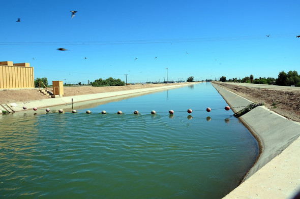 The American Canal carries water from the Colorado River to farms in California's Imperial Valley. Adam Dubrowa, FEMA/Wikipedia