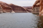 Lake Powell, photographed April 12, 2017. The white 'bathtub ring' at the cliff base indicates how much higher the lake reached at its peak, nearly 100 feet above the current level. Patti Weeks