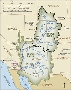 The Colorado River is about 1,400 miles long and flows through seven U.S. states and into Mexico. The Upper Colorado River Basin supplies approximately 90 percent of the water for the entire basin. It originates as rain and snow in the Rocky and Wasatch mountains. (Click to zoom.) USGS