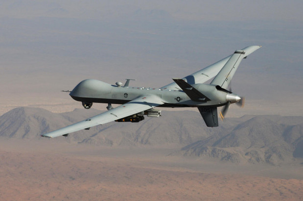 The MQ-9 Reaper, a combat drone, in flight. Wikimedia Commons / Ricky Best