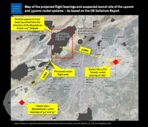 The controversial map developed by Human Rights Watch and embraced by the New York Times, supposedly showing the flight paths of two missiles from the Aug. 21, 2013 sarin attack intersecting at a Syrian military base. The evidentiary and scientific support for the map later collapsed.
