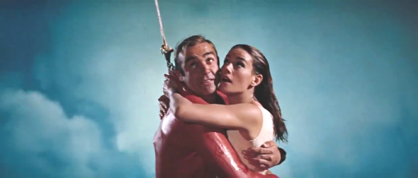 James Bond and Domino are rescued via a plane and skyhook that was loaned to the production by CIA front company Intermountain Aviation — Thunderball