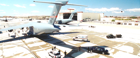 One of several scenes for Iron Man filmed at Edwards Air Force Base