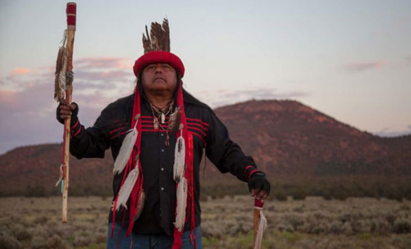 Richard Watahomigie, descendant of the first Havasupai leader. Pictured in front of Red Butte, sacred site for the Havasupai Tribe and at risk from the Canyon Mine. (Photo: Garet Bleir)