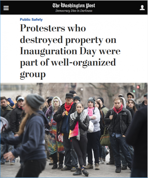 """The Washington Post (1/21/17) cited the presence of medics among protesters as evidence of a plot to """"violently disrupt the inauguration."""""""