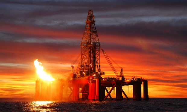 An oil rig exploring for oil and gas. A new report says more than 50% of global industrial emissions since 1988 can be traced to just 25 companies. Photograph: Dazman/Getty Images/iStockphoto