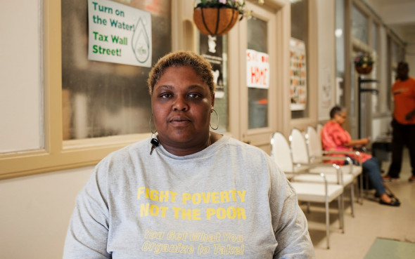 Nicole Hill had her water shut off in 2014. She now works with the Michigan Welfare Rights Organization. Photograph: Garrett MacLean for the Guardian