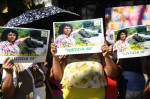 Activists call for justice in the case of Honduran indigenous environmentalist Berta Cáceres, who was killed last year. Photograph: Marvin Recinos/AFP/Getty Images