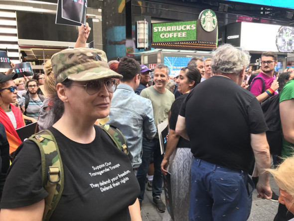 "HAYLEY MILLER/HUFFPOST Jacqueline Swannick, a trans woman who served in the U.S. Army for eight years, said Trump's proposed ban sends a ""very bad message."""