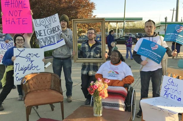 """Members of NAHJP joined allies from the Catholic Worker and Su Casa for a """"housewarming party"""" in May. (Twitter/@affordableJP)"""
