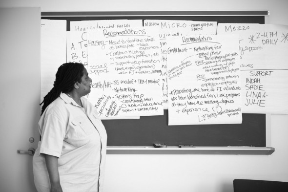 Wilkins looks over notes from a faculty meeting at Columbia's Center for Justice, a center co-founded by Wilkins and Kathy Boudin.