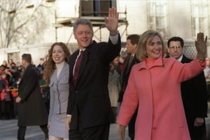 President Bill Clinton, First Lady Hillary Clinton and daughter Chelsea parade down Pennsylvania Avenue on Inauguration Day, Jan. 20, 1997. (White House photo)