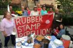 Activists serve potluck dinner at former FERC Chairman Norman Bay's house, June 2016./Photo by John Zangas