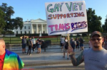 Veterans and hundreds of LGBTQ supporters mobilized with hits of the President's tweet announcing a ban on transgender military service members. Photo: John Zangas