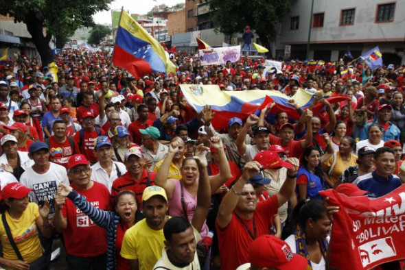 Chavistas march on May 1st. The Venezuelan opposition is fearful of a large turnout for the Constituent Assembly elections on July 30th.