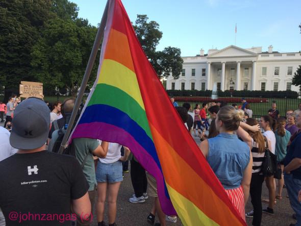 "LGBTQ groups vowed to fight the ban. ""Trump picked a hell of a fight,"" said Kara Zajak. Photo: John Zangas"