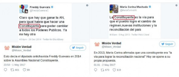 Opposition leaders Freddy Guevara and Maria Corina Machado had called for a Constituent Assembly in the past. (Tweets by Misión Verdad)