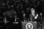 AP.  President John F. Kennedy gestures during his speech before a rally on medical care for the aged at New York's Madison Square Garden on May 20, 1962.