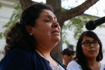 Lourdes Salazar-Bautista of Ann Arbor speaks at a press conference on ICE policies in Michigan on July 8, 2017. Photo: Hunter Dyke/The Ann Arbor News