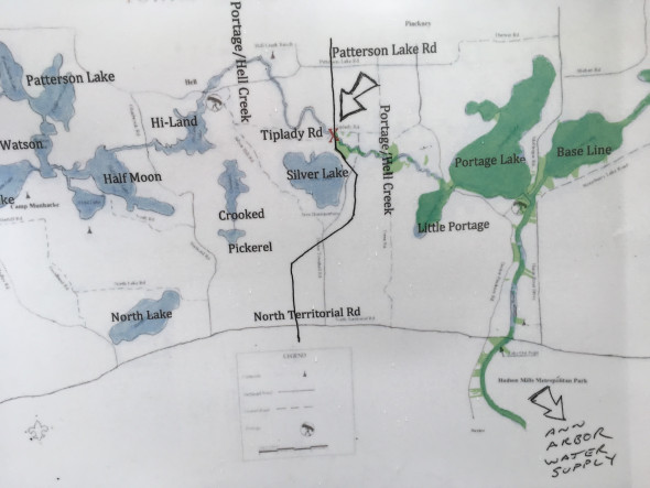 A map of the Rover pipeline one of the residents opposed to the project brought to the Washtenaw County Board of Commissioners meeting on June 28, 2017. (Ryan Stanton | The Ann Arbor News)