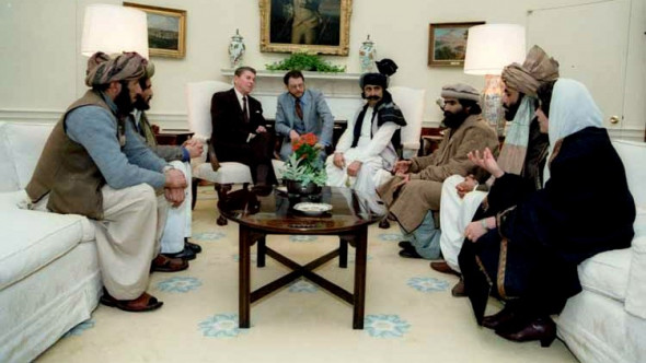 Ronald Reagan meeting in the White House with leaders of the Afghan mujahideen, which would later morph into al-Qaeda .March, 1985.