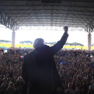 Sen. Bernie Sanders speaking to one of his large crowds of supporters. (Photo credit: Sanders campaign)