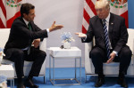 Trump meets with Mexican President Enrique Peña Nieto at the Group of 20 summit in Hamburg, Germany, in July 2017. Trump is pushing to renegotiate the North American Free Trade Agreement among their countries and Canada. Photo via NPR.