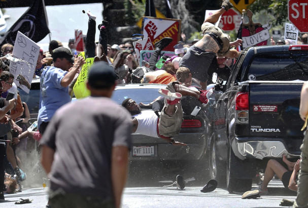 Ryan Kelly's iconic photograph of the moment that James Fields' car plowed into a crowd of protestors in Charlottesville, Virginia. Ryan M. Kelly/AP