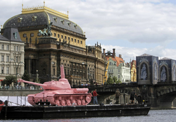 DAVID W. CERNY/REUTERS A pink Soviet World War II-era tank on display in front of the National Theatre in Prague on June 20, 2011, marking the 20th anniversary of Soviet troops' withdrawal from Czechoslovakia.