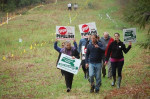 Pipeline demonstrators walking onto restricted land at the Otis State Forest in Sandisfield on May 6, 2017. (Submitted photo)