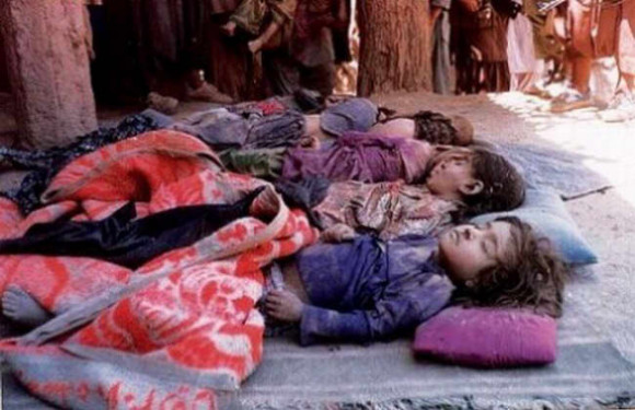 Afghanistan Victims of a February, 2012 US air strike that killed 8 children in Kapisa, Afghanistan.